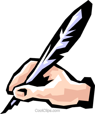 398x480 Hand Writing With Feathers Royalty Free Vector Clip Art