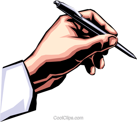 480x429 Hand Writing With Pen Royalty Free Vector Clip Art Illustration