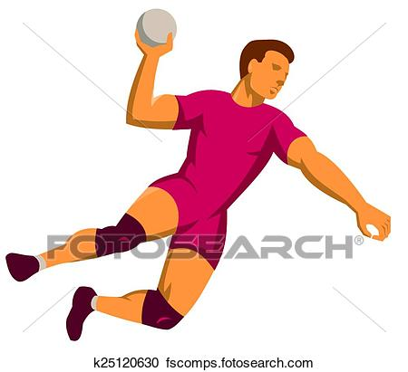 450x411 Clipart of handball player jumping shooting retro k25120630
