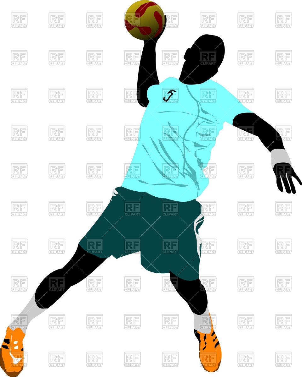 959x1200 Silhouette of attacking handball players Royalty Free Vector Clip