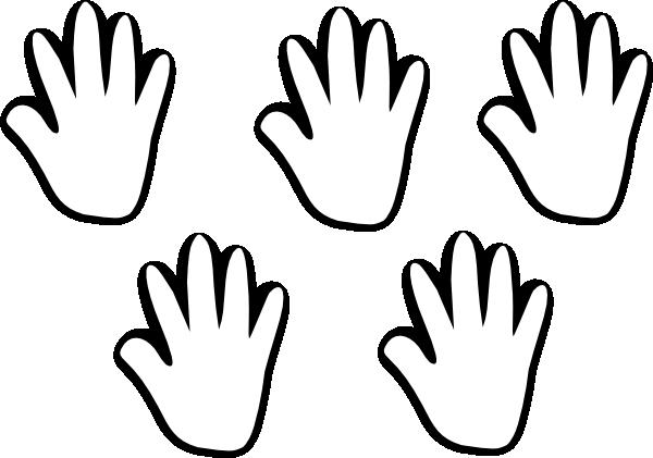 600x421 Child Handprint Blackwhite 5 Clip Art