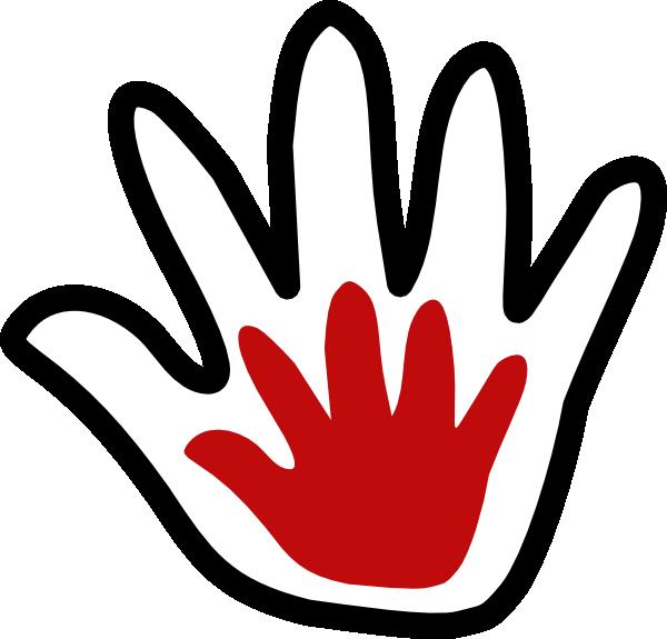 600x575 Child Handprint Blackwhite Amoola Clip Art