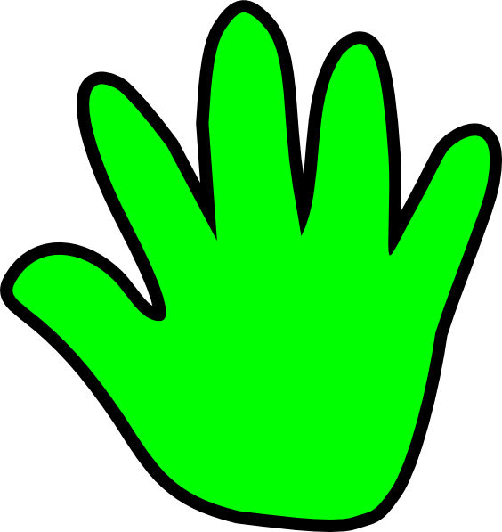564x597 Handprint Outline Child Handprint Green Clip Art