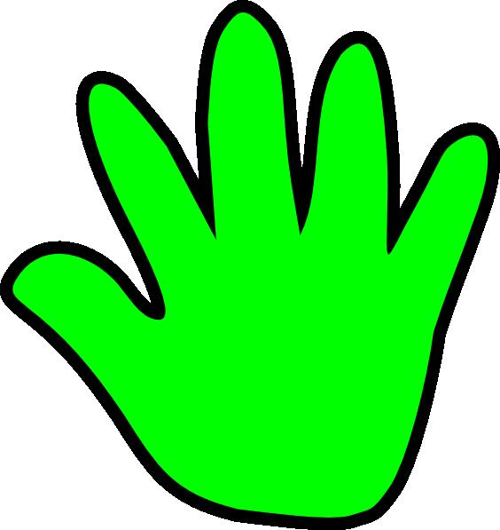 564x597 Handprint outline child handprint green clip art