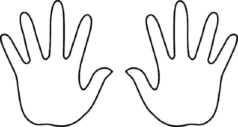 800x426 Handprint Outline Handprint Clipart Two Hand Pencil And In Color