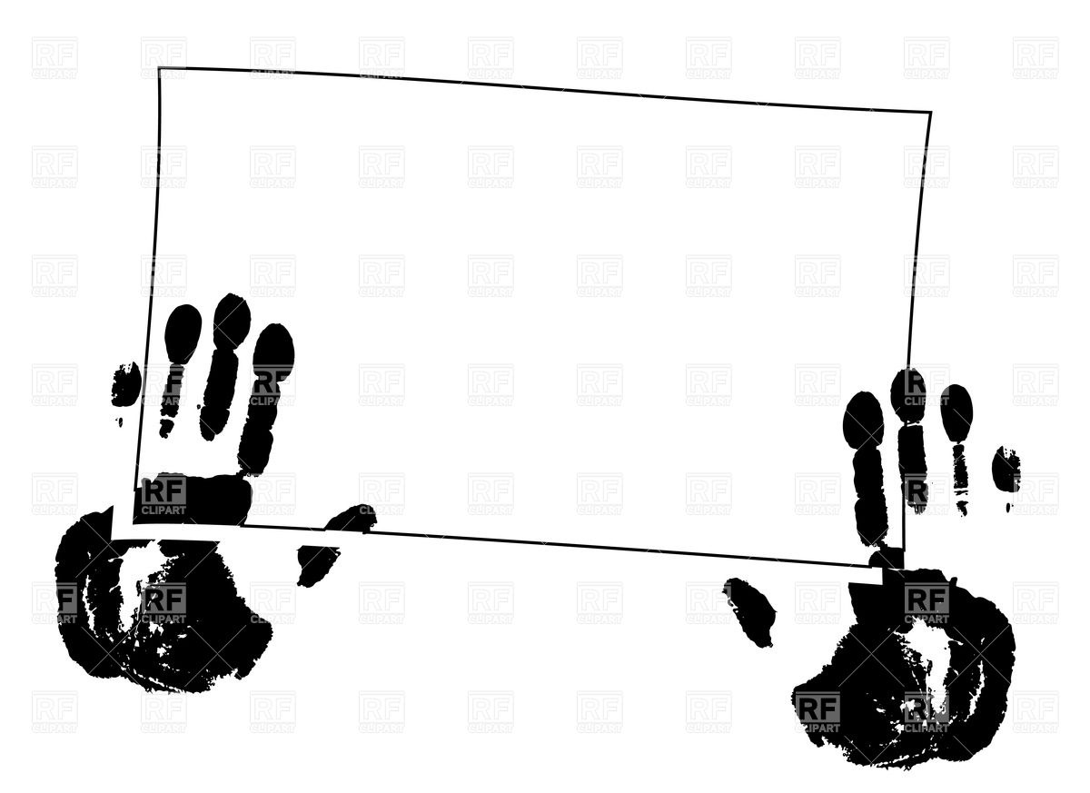 1200x873 Handprints (Palms) And Square Frame Royalty Free Vector Clip Art