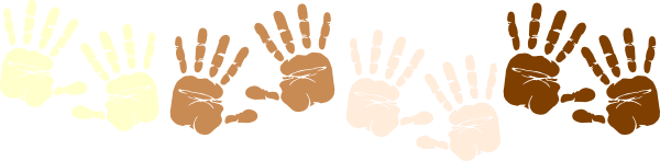 600x147 Row Of Multicultural Handprints Clip Art