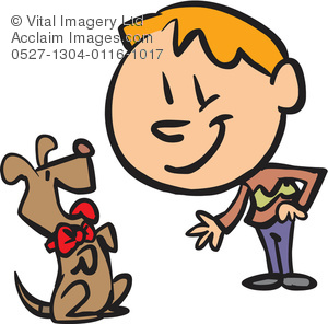 300x296 Clip Art Illustration Of A Boy Shaking Hands With His Dog