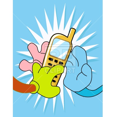 400x400 Hands And Cellphone Free Vector Clip Art Image