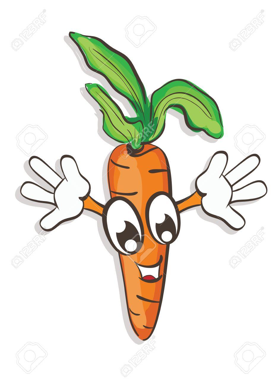 937x1300 Illustration Of Funny Cartoon Carrot Raising His Hands. Clip Art
