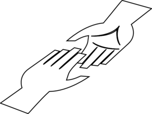 299x225 White Hands With Black Lining Clip Art