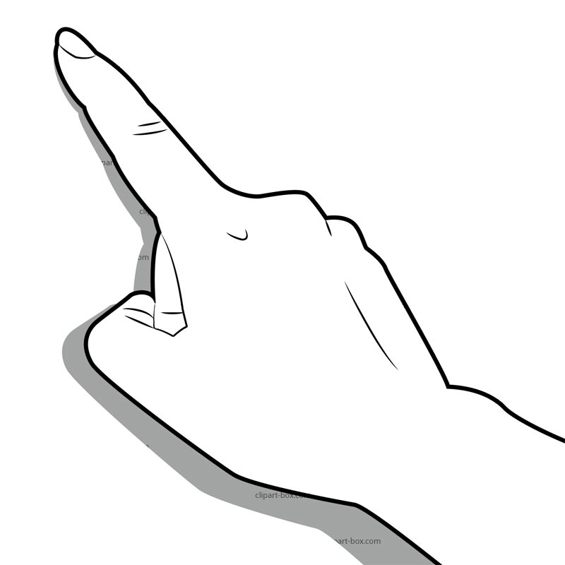 800x800 Black And White Pointing Hand Clipart