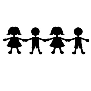 300x300 Children Holding Hands Clip Art In Black And White 101 Clip Art