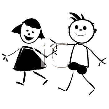 350x350 Cartoon Kids, A Boy And Girl Holding Hands