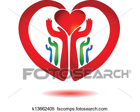 450x359 Clipart Of Hands Holding A Heart Icon Vector K13662405