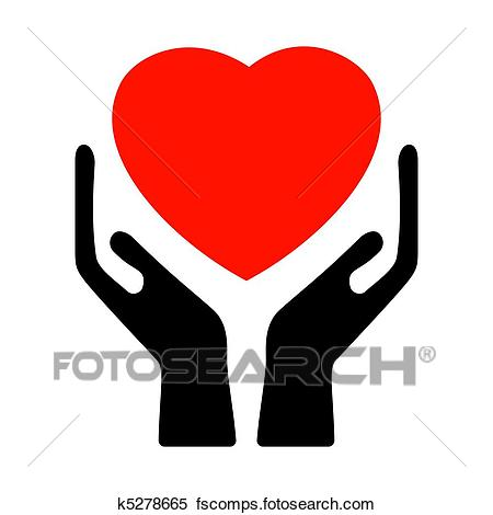 450x470 Clipart Of Hands Holding The Heart. Eps 8 K5278665