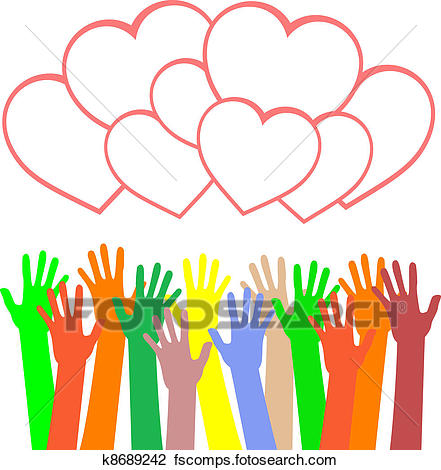 441x470 Clipart Of Multicolored Hands Holding The Heart. Greetings Card