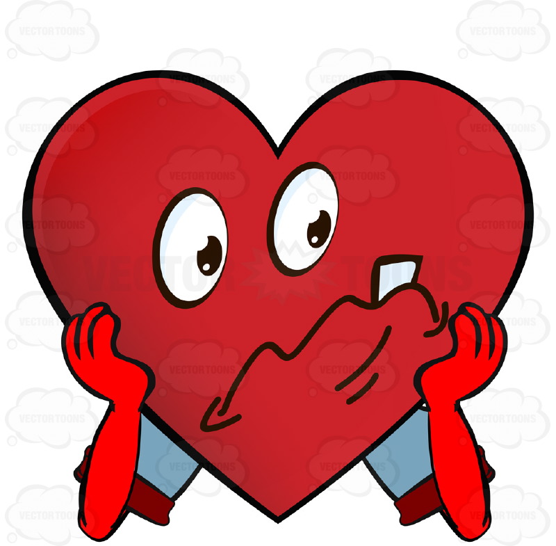 800x785 Frowning Distressed Heart Smiley Holding Face In Hands Wearing