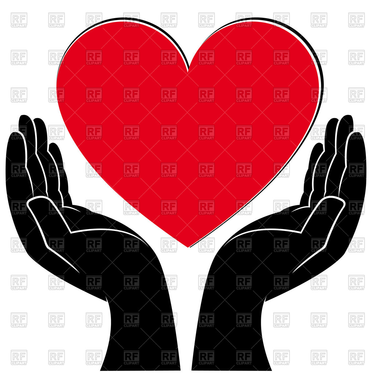 1200x1200 Human Hands With Heart Royalty Free Vector Clip Art Image