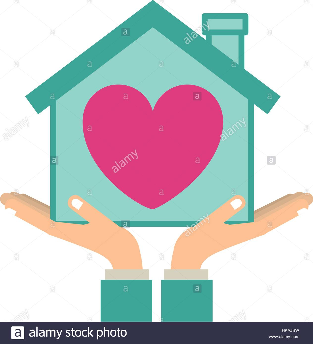 1264x1390 Colorful Sticker Silhouette Of Hands Holding A House With Heart