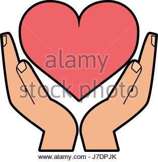 313x320 Hand Holding Heart Cartoon Icon Image Stock Vector Art