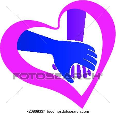 450x443 Clip Art Of Holding Hands Heart Shape Logo K20868337