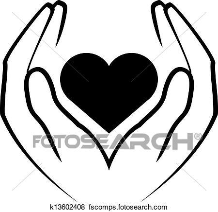 450x436 Clip Art Of Hands Holding Heart K13602408