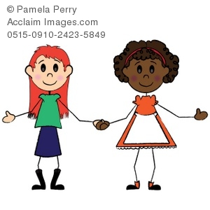 300x300 Art Illustration Of A Stick Girl Friends Holding Hands