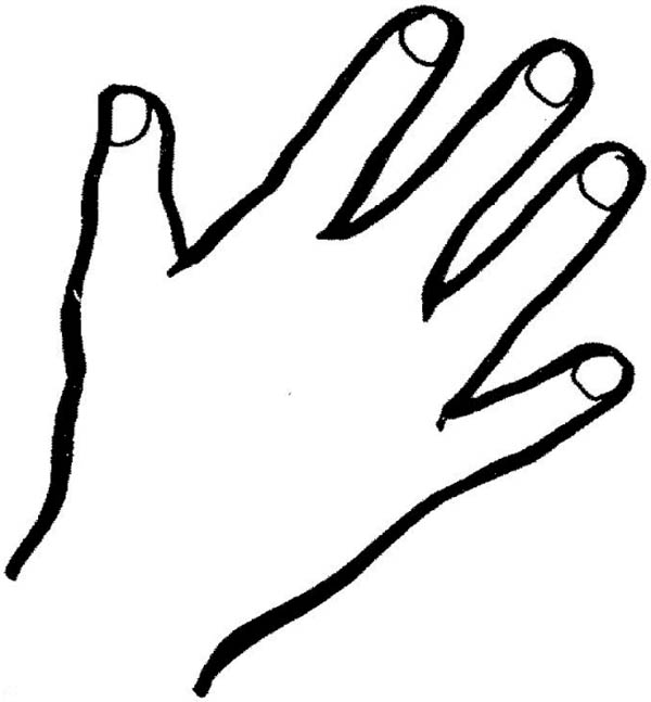 600x647 Hand Outline Finger Coloring Page Sky