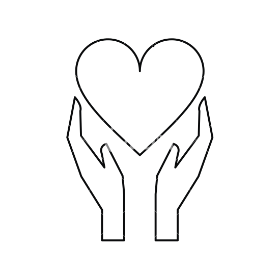 550x550 Hands Holds Heart Love Care Outline