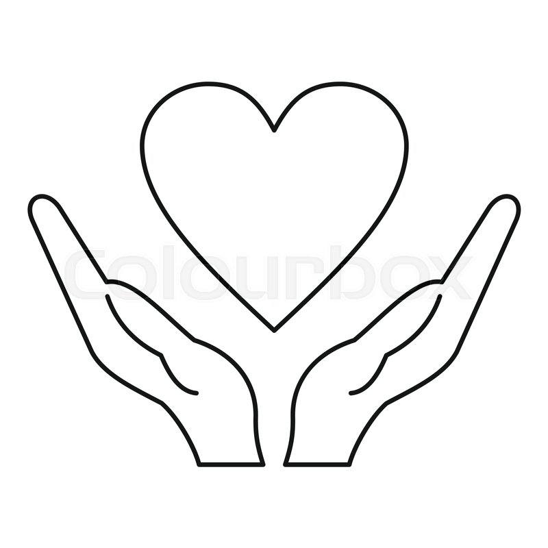 800x800 Hands Holding Heart Icon. Outline Illustration Of Hands Holding