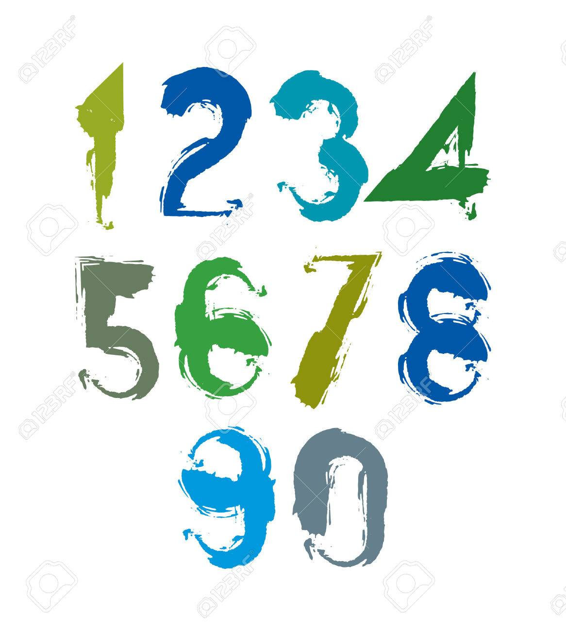 1166x1300 Multicolored Handwritten Numbers, Vector Doodle Brushed Figures