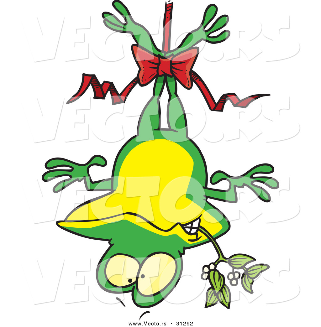 1024x1044 Cartoon Vector Of A Frog Hanging Upside Down With Mistletoe