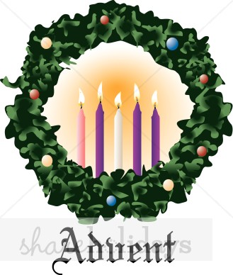329x388 Hanging Advent Wreath Wth Five Lit Candles Christmas Wreath Clipart