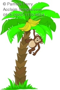 201x300 Art Illustration Of A Cute Little Monkey Hanging In A Banana Tree