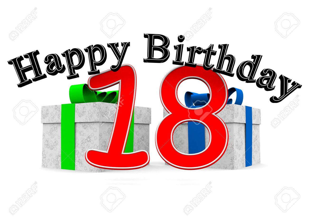 1300x919 Big Black Lettering Happy Birthday With A Big Red Number 18 As