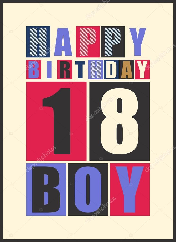 744x1023 Retro Happy Birthday Card. Happy Birthday Boy 18 Years. Gift Card