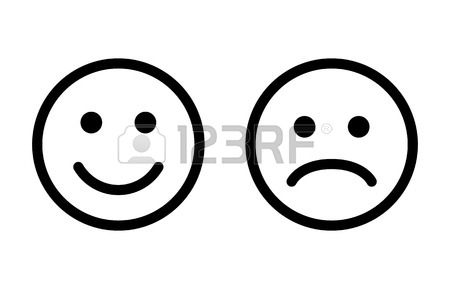 450x289 Happy And Sad Emoji Smiley Faces Line Art Vector Icon For Apps