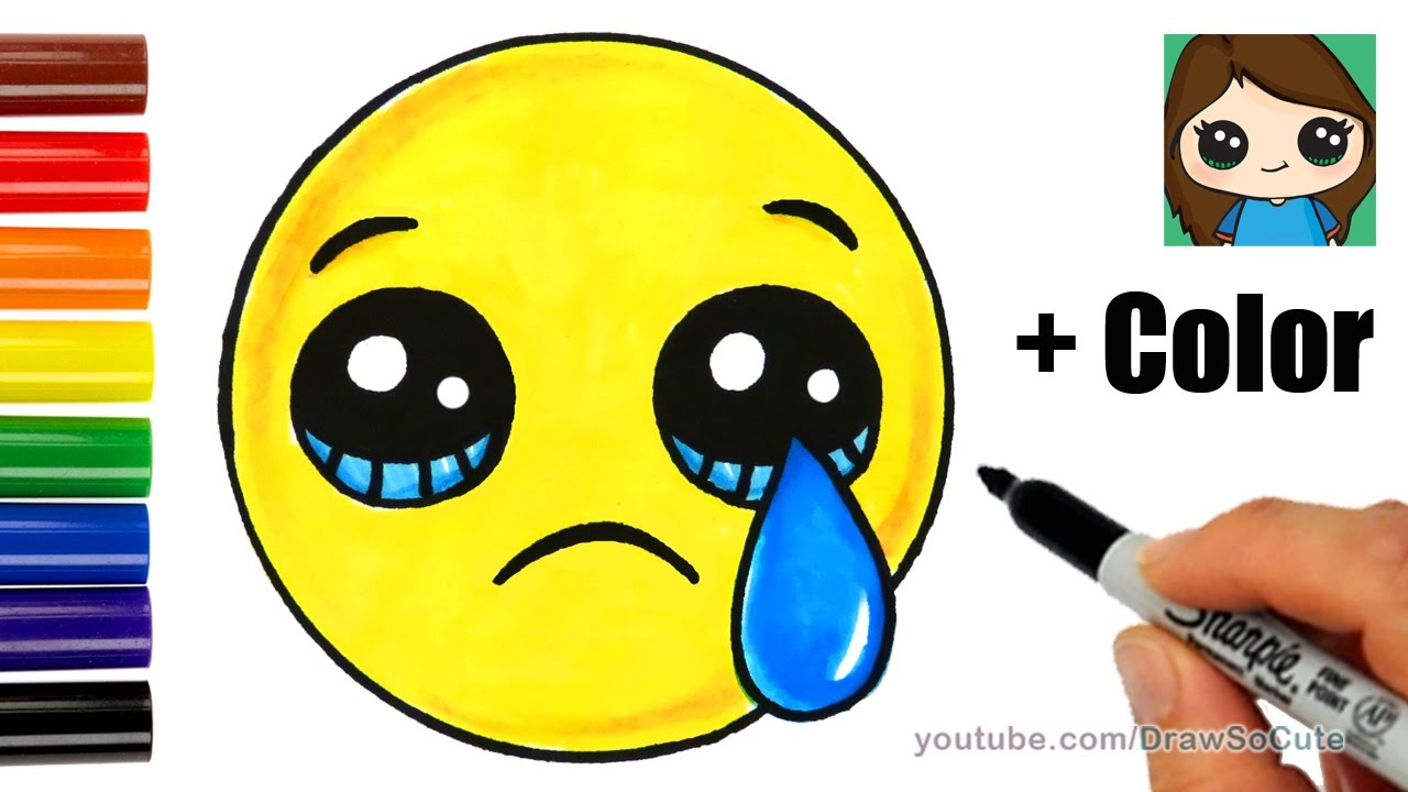 1280x720 How To Draw A Sad Face Emoji Easy With Coloring