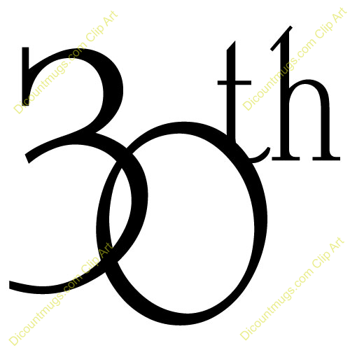 500x500 30th Number Clipart Collection
