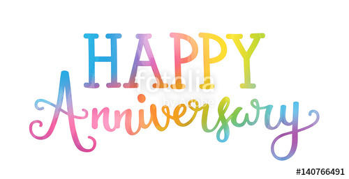 500x257 Happy Anniversary Hand Lettering Icon Stock Image And Royalty