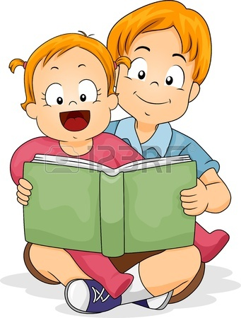341x450 Happy Baby Girl Reading A Book With Her Sister Stock Photo