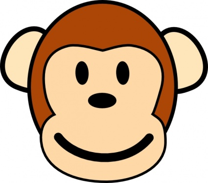 425x373 Baby Monkey Clipart Black And White Happy Monkey Clip