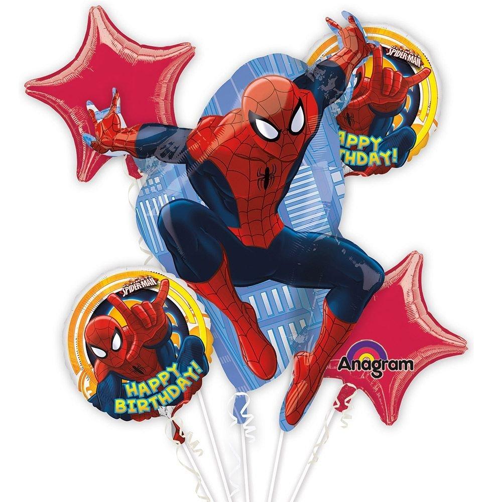 1000x1000 Spiderman Happy Birthday Balloon Bouquet Set Toys Amp Games