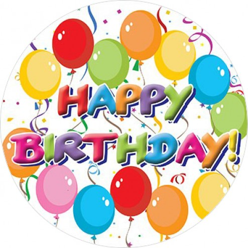 494x494 Happy Birthday Balloons Round