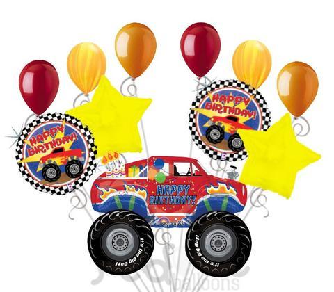 480x420 Monster Truck Happy Birthday Balloon Bouquet Jeckaroonie Balloons