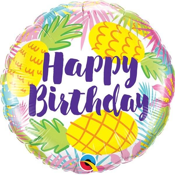 600x600 Pineapples Happy Birthday Balloon