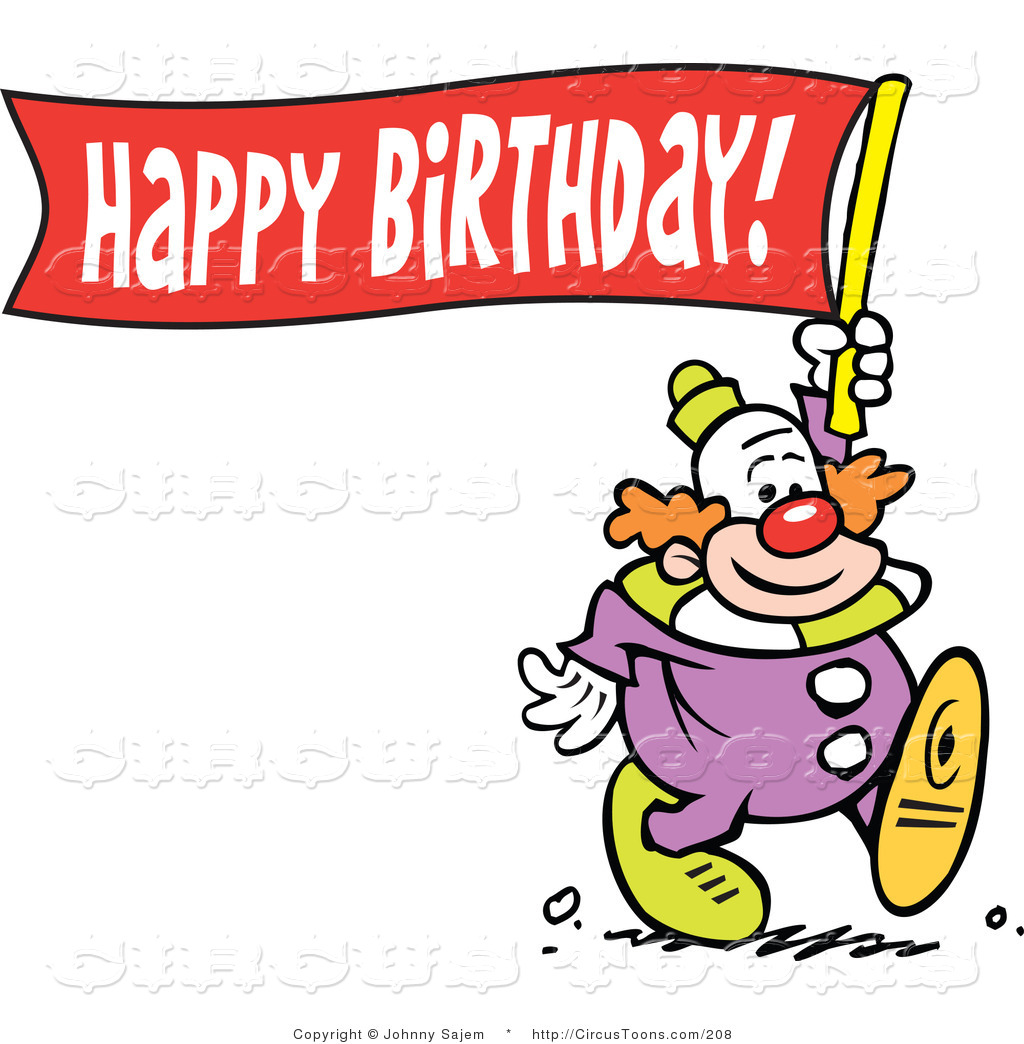 1024x1044 Circus Clipart Of A Happy Clown Carrying A Happy Birthday Banner