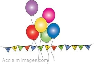 300x206 Clip Art Of A Happy Birthday Banner With Balloons