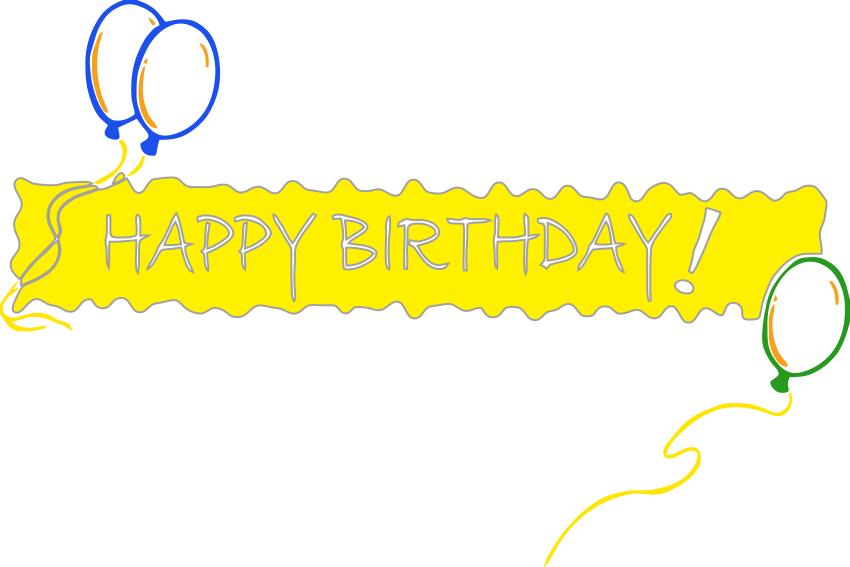 850x567 Happy Birthday Banner Yellow Clip Art Download